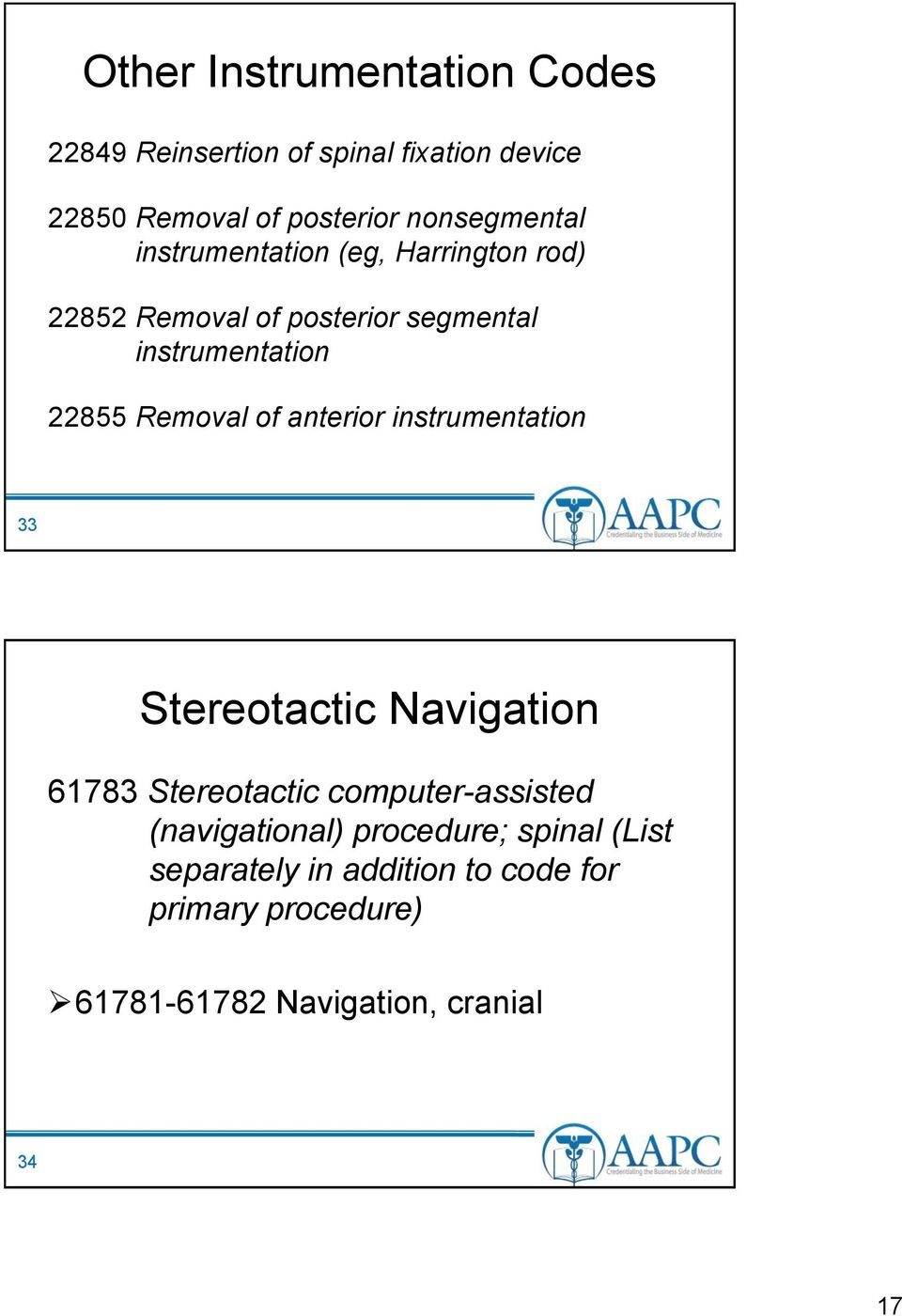 Removal of anterior instrumentation 33 Stereotactic Navigation 61783 Stereotactic computer-assisted