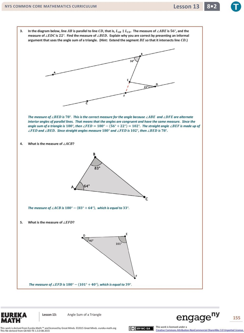 Lesson 13: Angle Sum of a Triangle - PDF
