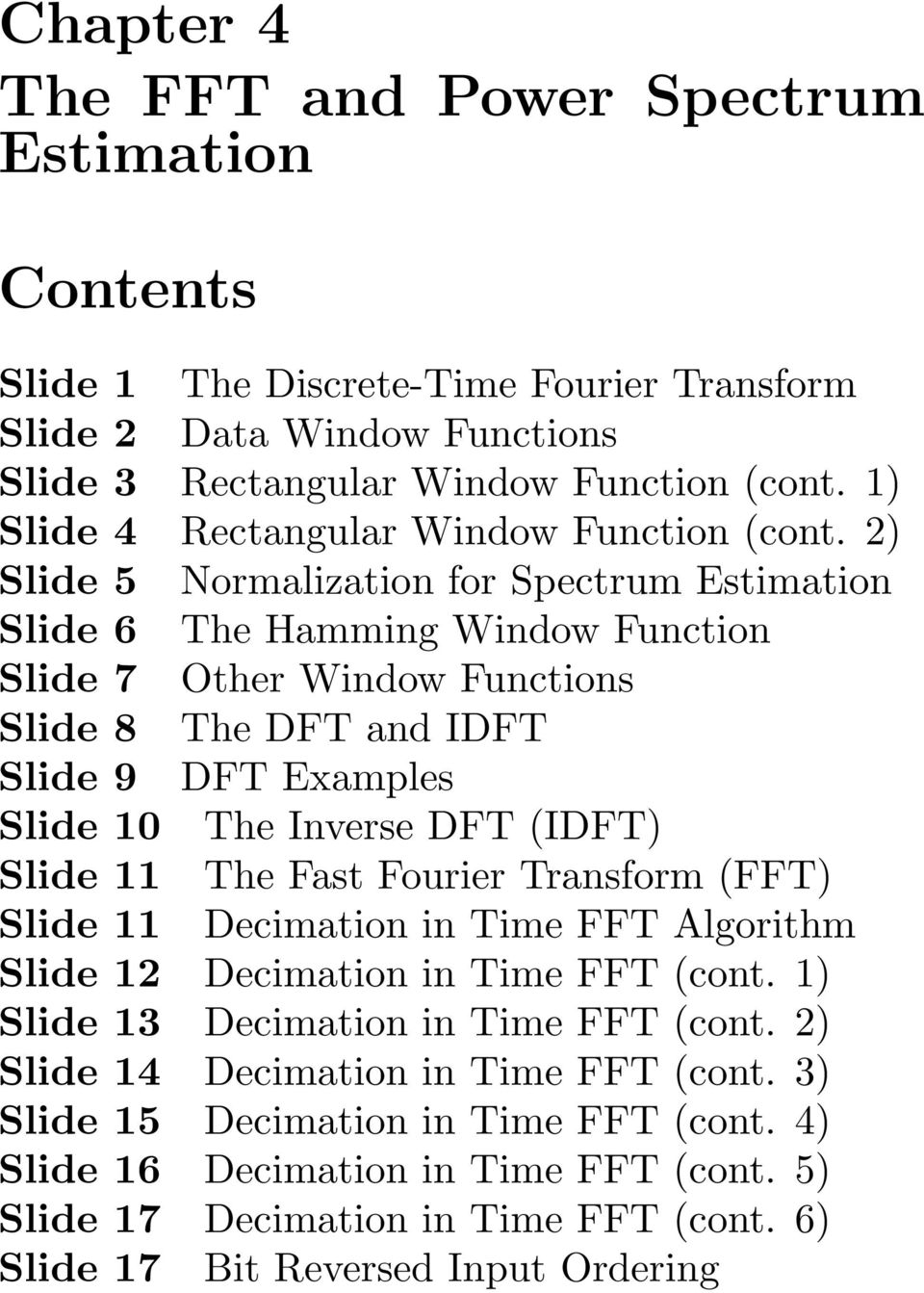 Chapter 4 The FFT and Power Spectrum Estimation - PDF