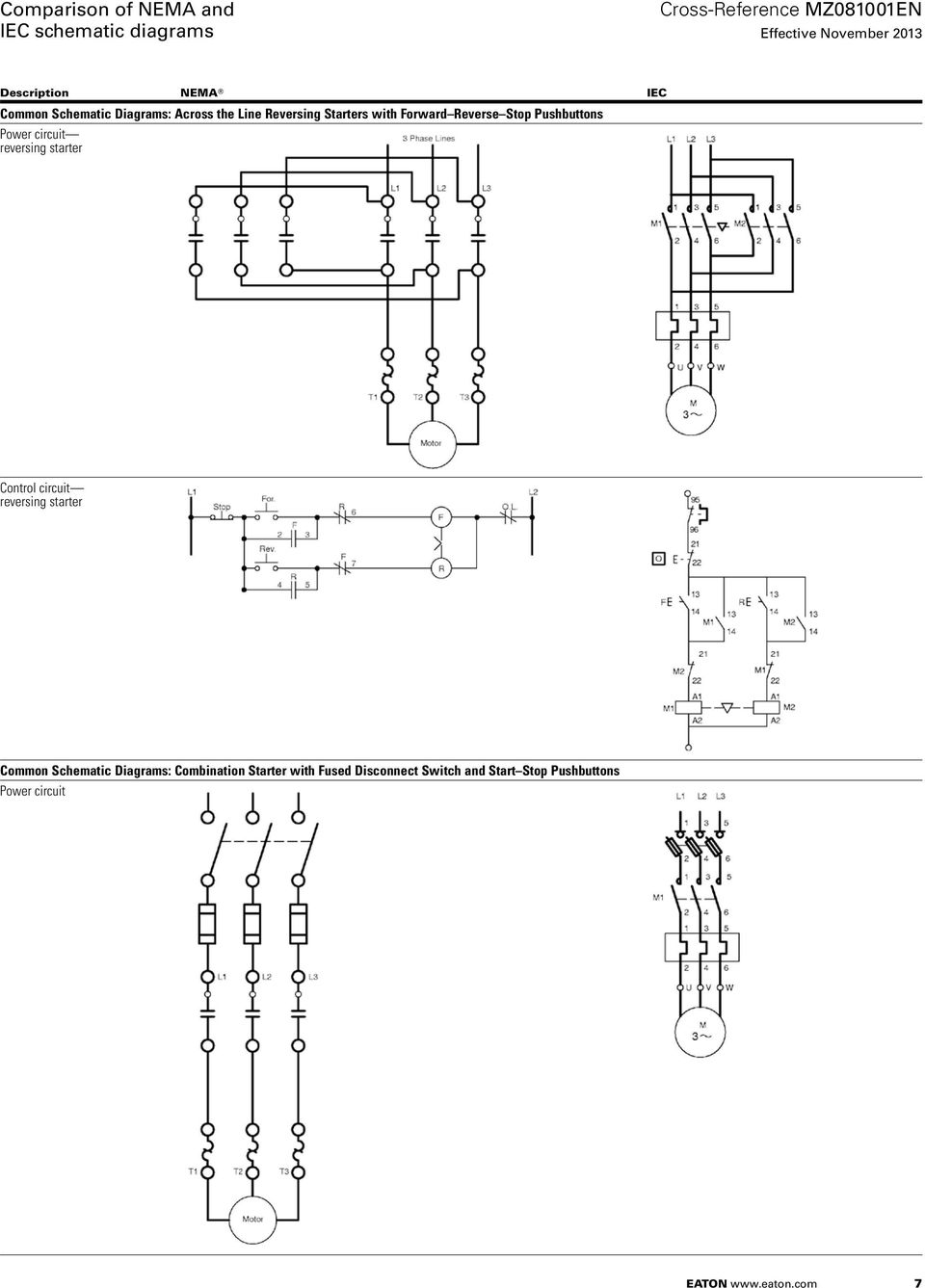 Comparison Of Nema And Iec Schematic Diagrams Pdf Fuse With Switch Wiring Diagram Reversing Starter Control Circuit Common