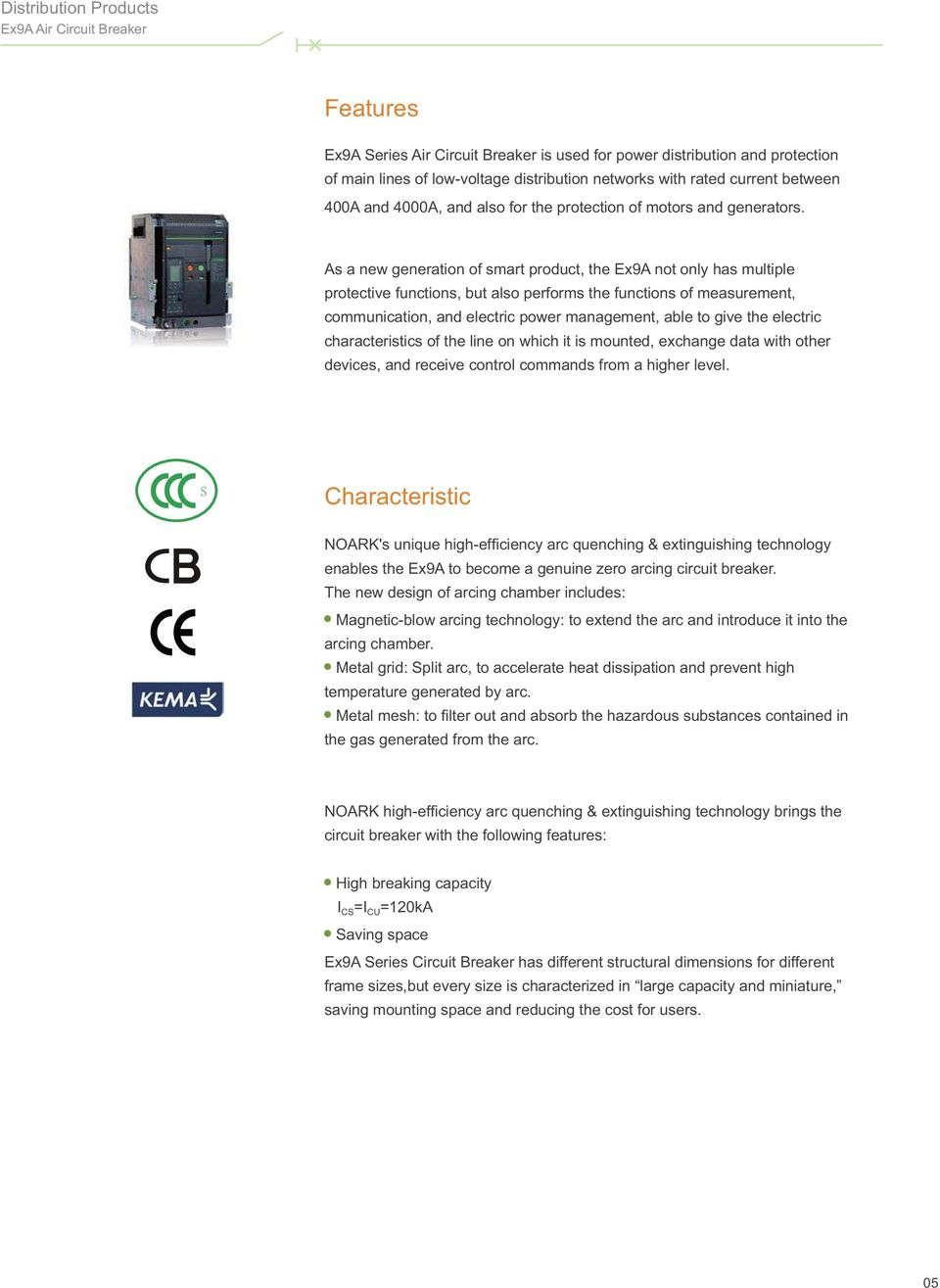 Contents Company Introduction 0104 Distribution Products 0527 Ex9a Circuit Breaker For Power Motor As A New Generation Of Smart Product The Not Only Has Multiple Protective Functions 8 Air