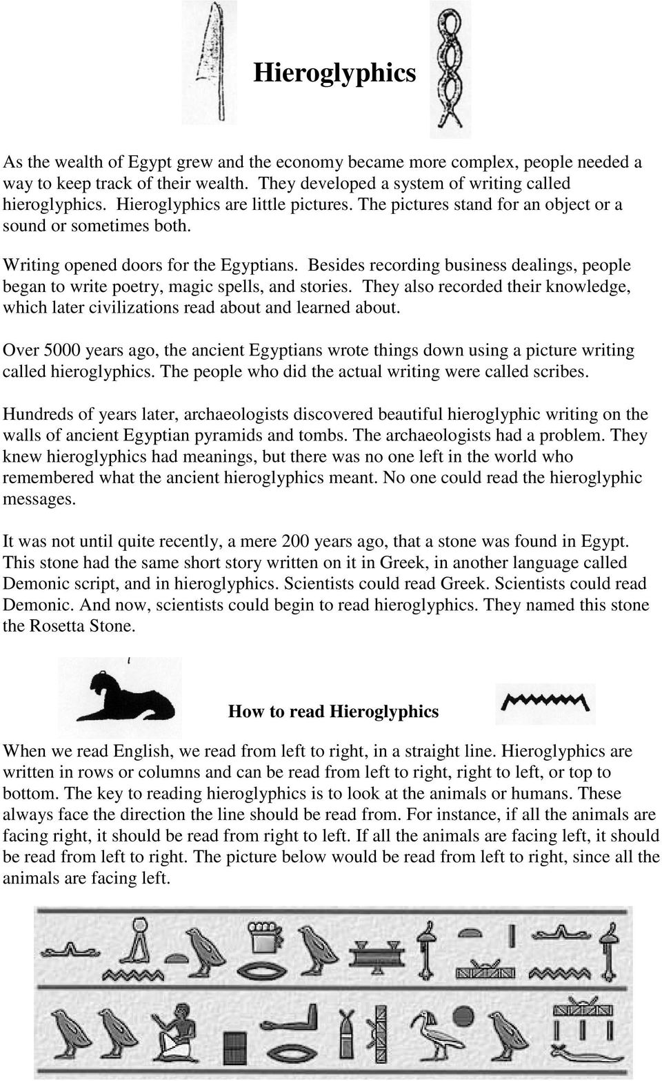 egyptian writing is called