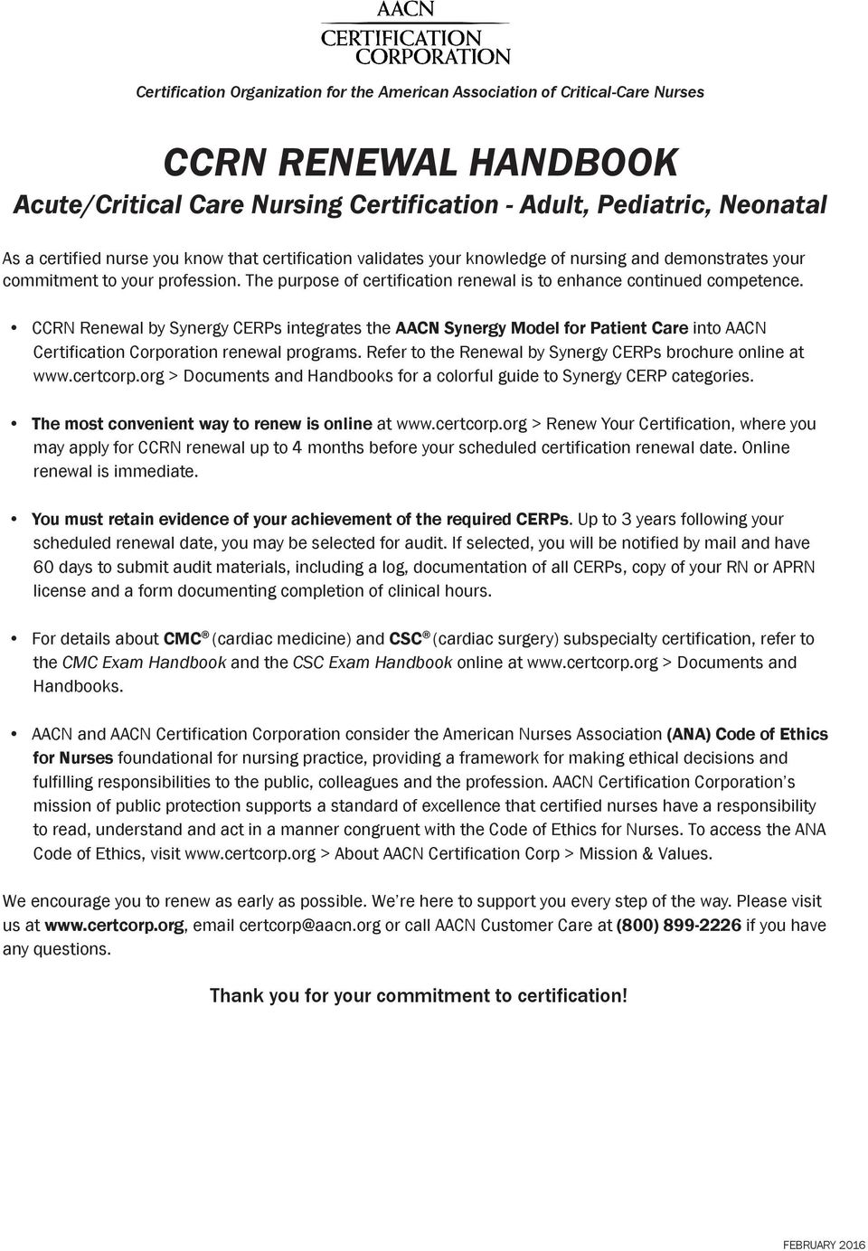 Ccrn Renewal Handbook Adult Pediatric Neonatal Acutecritical Care