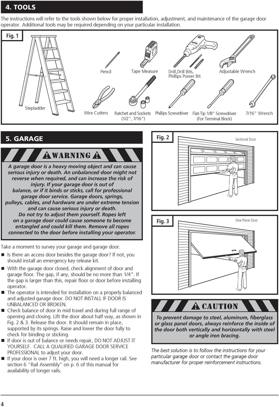 M55 Residential Garage Door Operator Pdf Safety Sensor Wiring Diagram Download Page 1 Pencil Tape Measure Drilldrill Bits Phillips Power Bit Adjustable Wrench Stepladder Wire