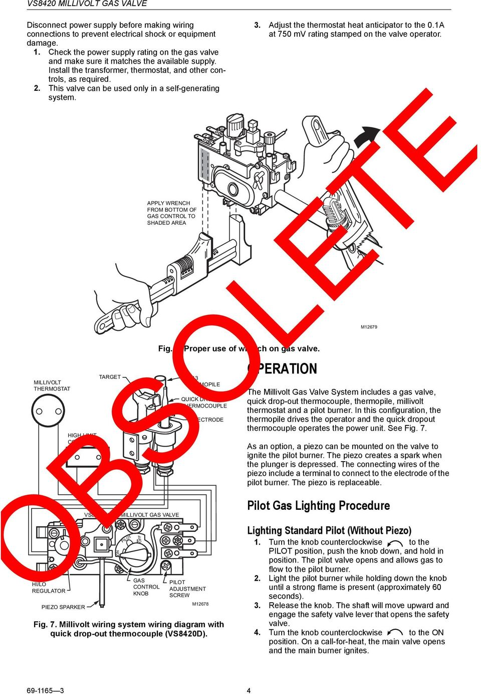 Obsolete Vs8420 Millivolt Gas Valve Pdf Piezo Wiring Diagram This Can Be Used Only In A Self Generating System