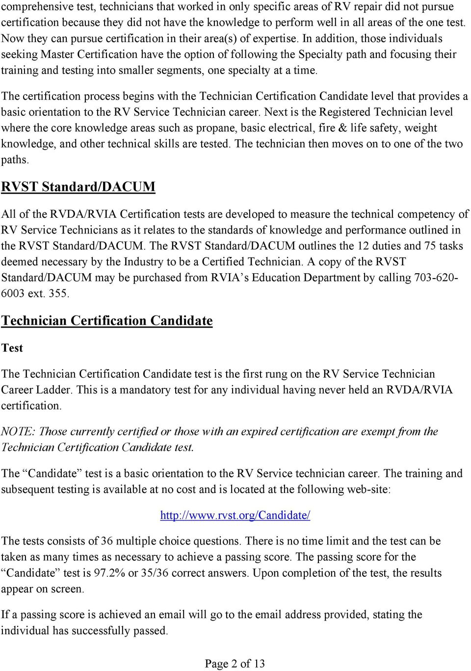 Rvdarvia Rv Service Technician Certification Program Certification