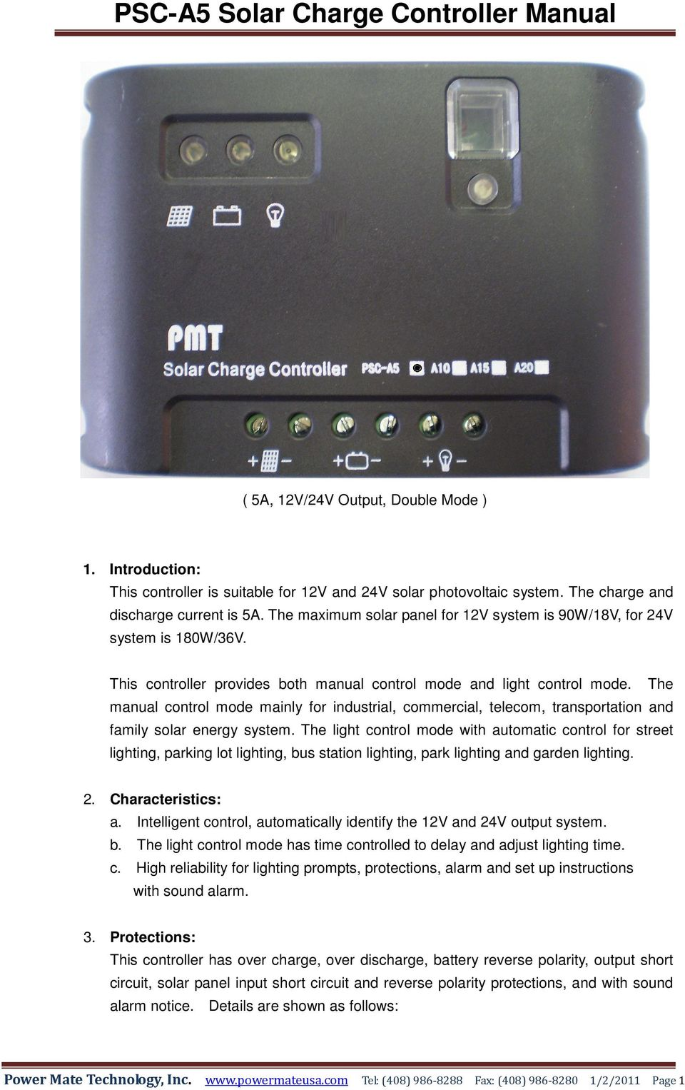Psc A5 Solar Charge Controller Manual Pdf Pwm 10a 12v24v Automatic Art Of Circuits The Control Mode Mainly For Industrial Commercial Telecom Transportation And Family