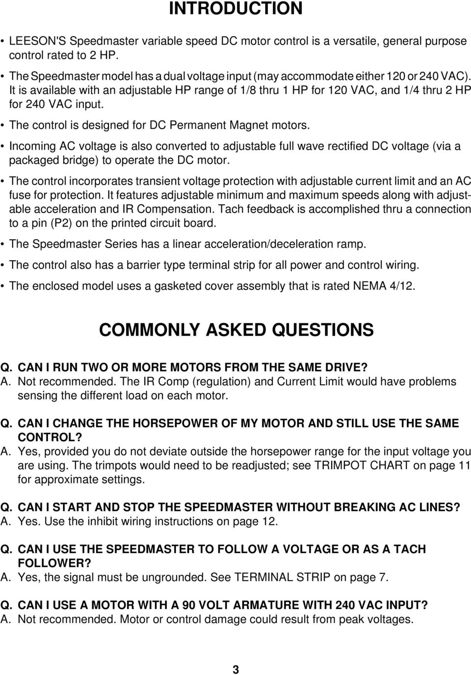 Leeson Electric Corporation Grafton Wi Usa Telephone 262 Fax Motor Wiring Diagram General On The Control Is Designed For Dc Permanent Magnet Motors Incoming Ac Voltage Also Converted