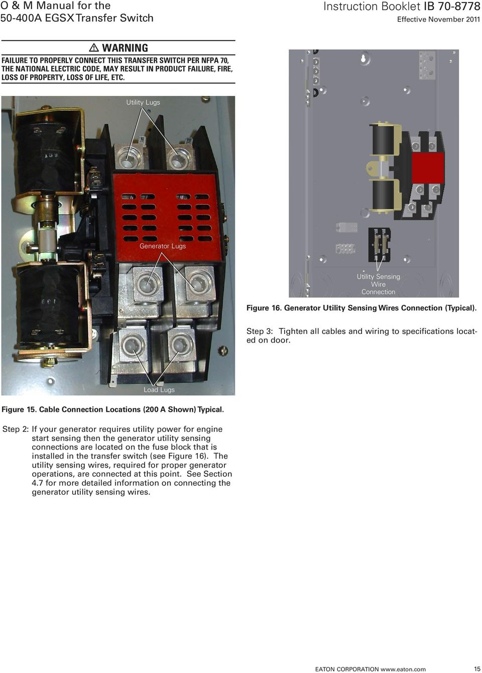 O M Manual For The A Egsx Transfer Switch Pdf Eaton Pull Out Wiring Diagram Step 3 Tighten All Cables And To Specifications Located On Door Load Lugs