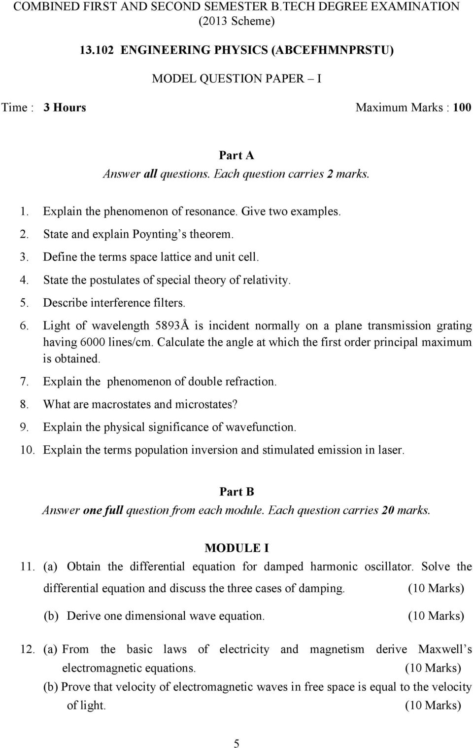B  TECH  DEGREE COURSE (2013 SCHEME) MODEL QUESTION PAPERS FOR