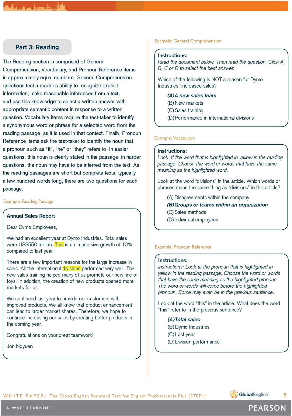 The GlobalEnglish Standard Test for English Professionals