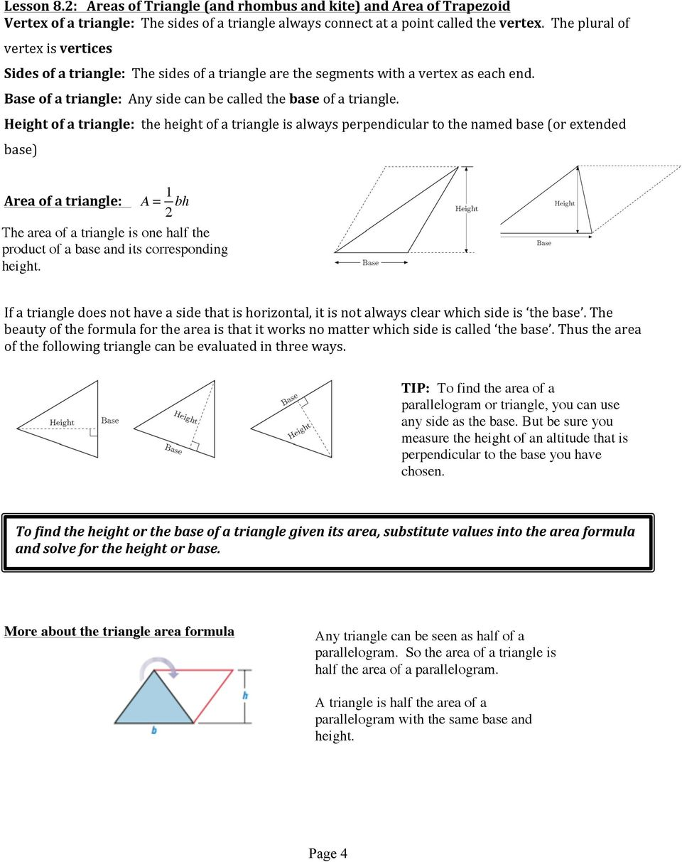 Geometry Unit 6 Areas and Perimeters - PDF