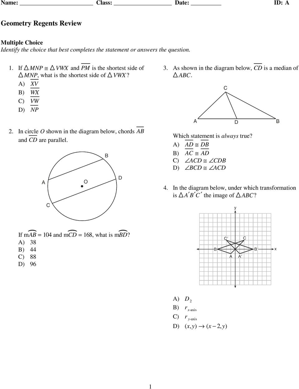 Geometry regents review pdf in circle o shown in the diagram below chords ab and cd are ccuart Gallery
