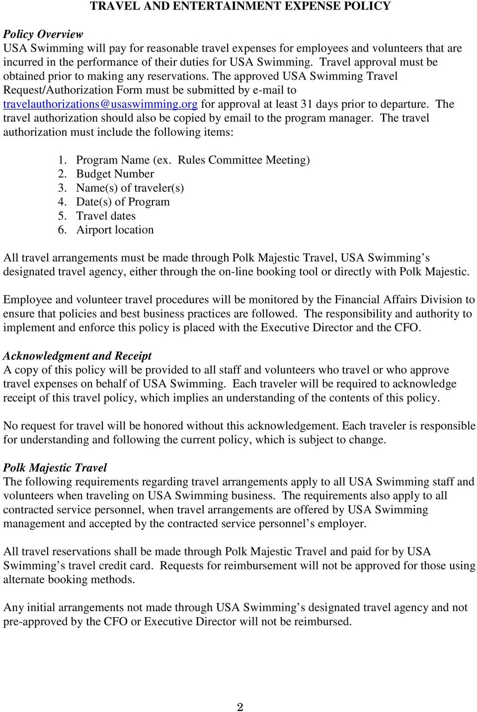 USA SWIMMING TRAVEL POLICY SUMMARY - PDF