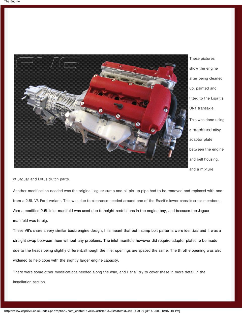 V6 Duratec Jaguar Aj Engine 30 The Pdf Pathfinder 3 5l Diagram Another Modification Needed Was Original Sump And Oil Pickup Pipe Had To Be Removed