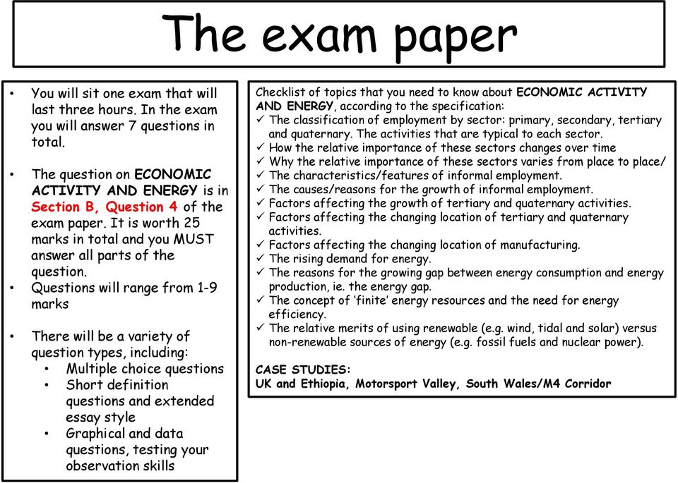 Edexcel GCSE Geography ECONOMIC ACTIVITY AND ENERGY Revision