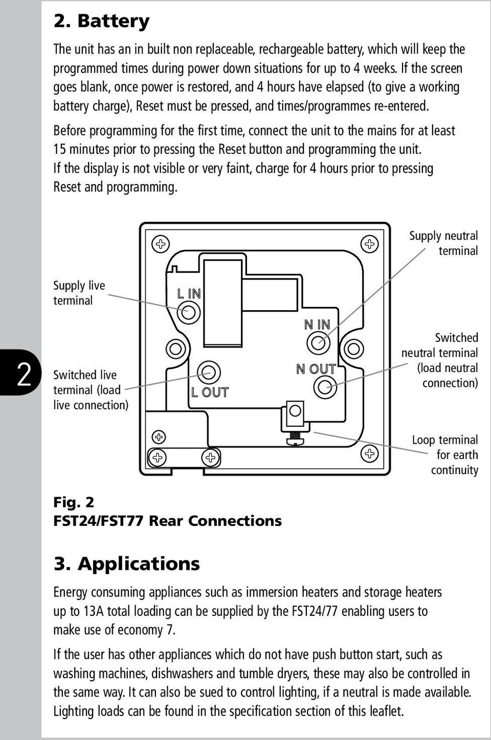 Fused Spur Time Switch Pdf 1 Gang 2 Wire 10a No Neutral Presence Detector Timer Before Programming For The First Connect Unit To Mains At Least