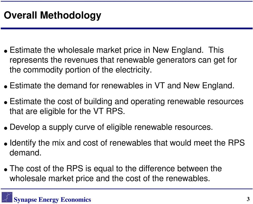 Estimate the demand for renewables in VT and New England.