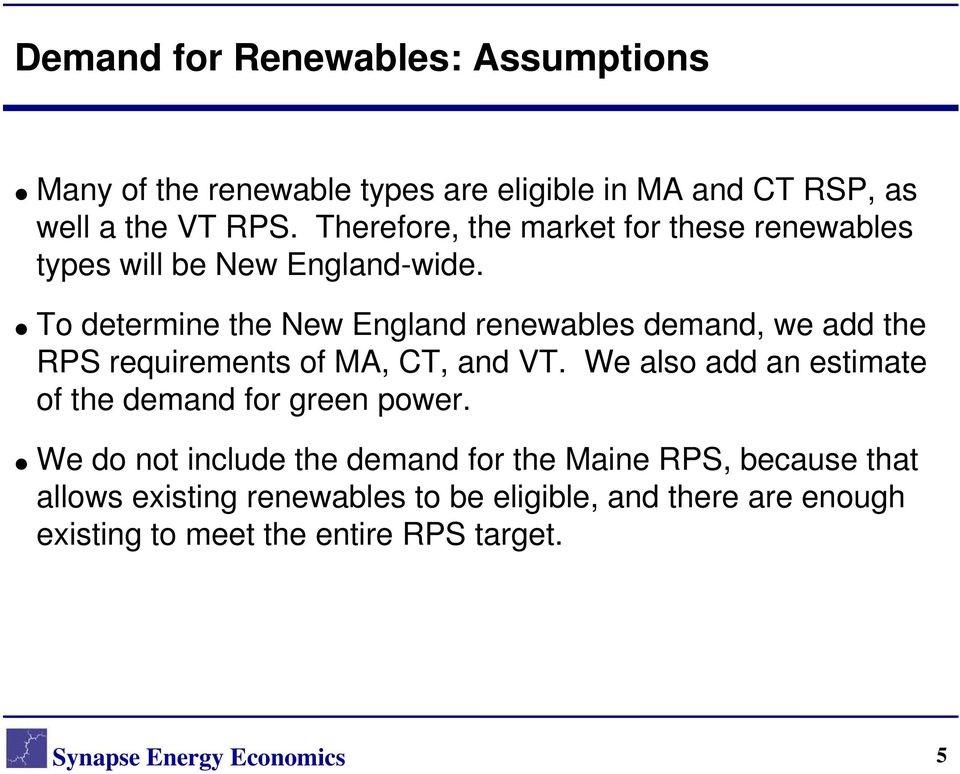 To determine the New England renewables demand, we add the RPS requirements of MA, CT, and VT.