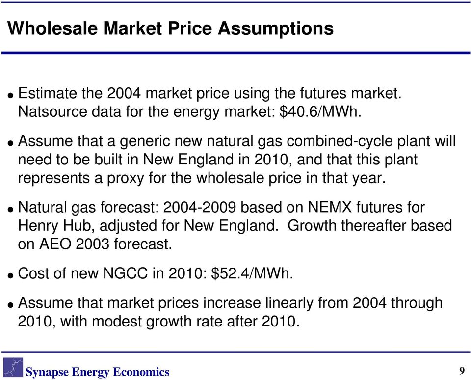 wholesale price in that year. Natural gas forecast: 2004-2009 based on NEMX futures for Henry Hub, adjusted for New England.