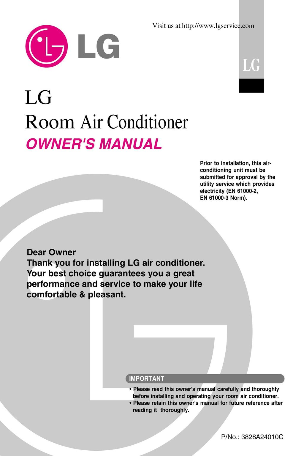 lg room air conditioner owner s manual pdf rh docplayer net Home Depot LG Air Conditioner Wall Mounted Air Conditioners LG