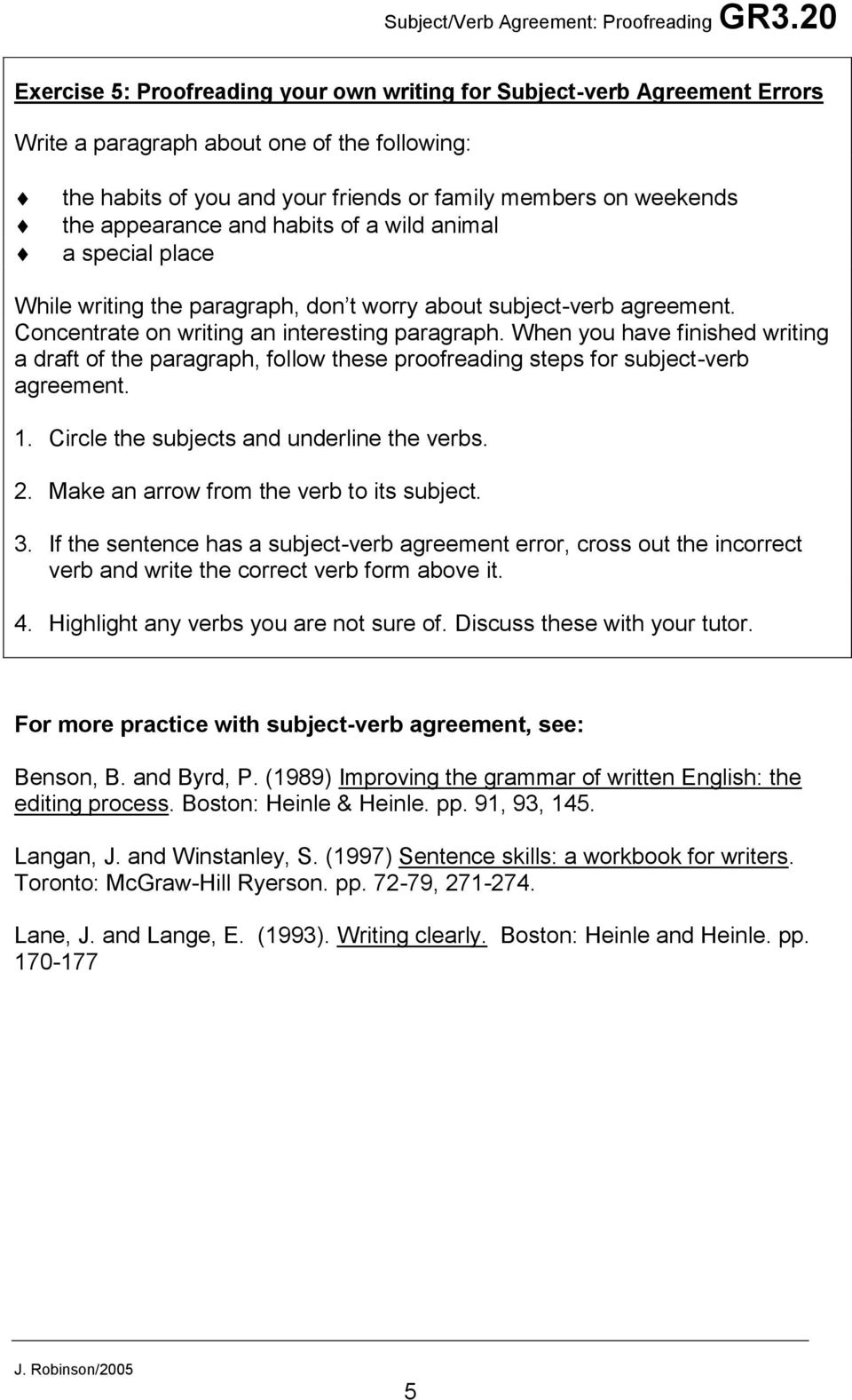 Subjectverb Agreement Proofreading For Subject Verb Agreement Pdf