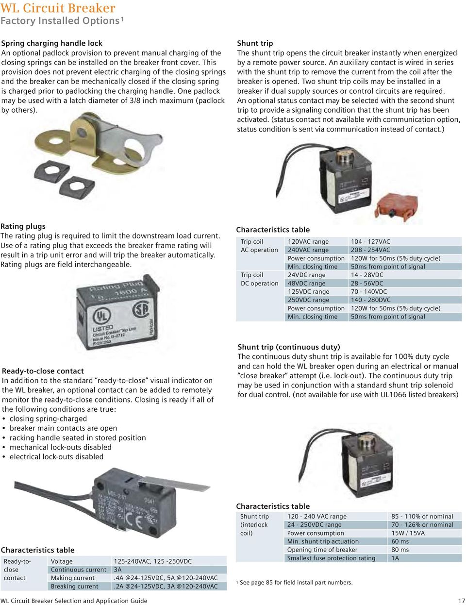 Selection And Application Guide Low Voltage Wl Circuit Breakers Automatic Mains Disconnect One Padlock May Be Used With A Latch Diameter Of 3 8 Inch Maximum