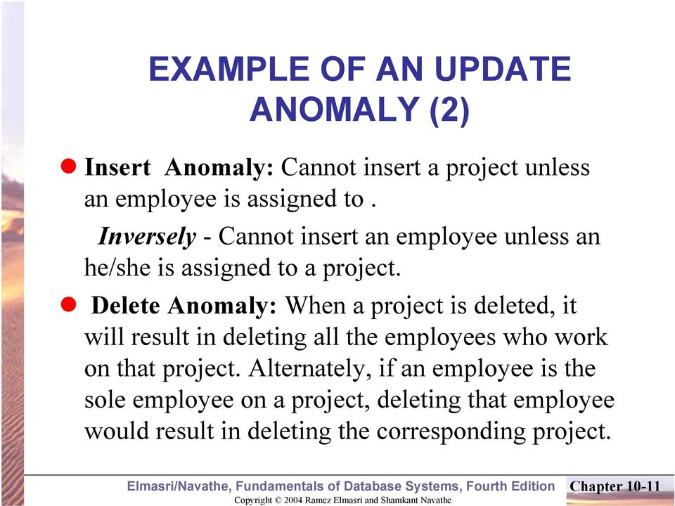 Delete Anomaly: When a project is deleted, it will result in deleting all the employees who work on that project.