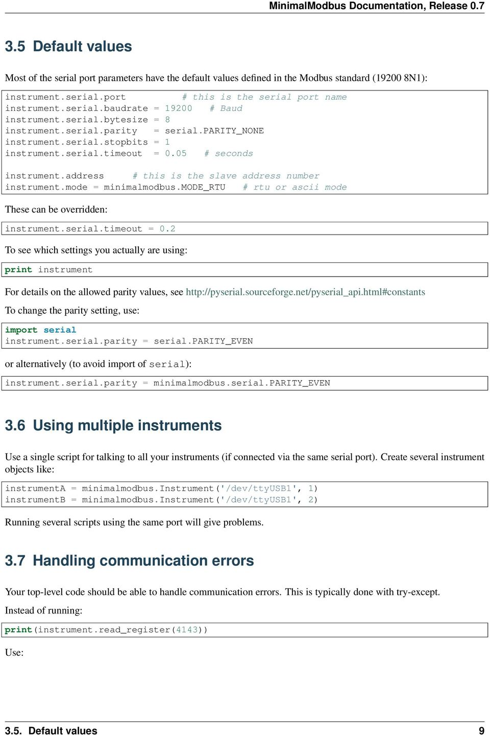 MinimalModbus Documentation - PDF