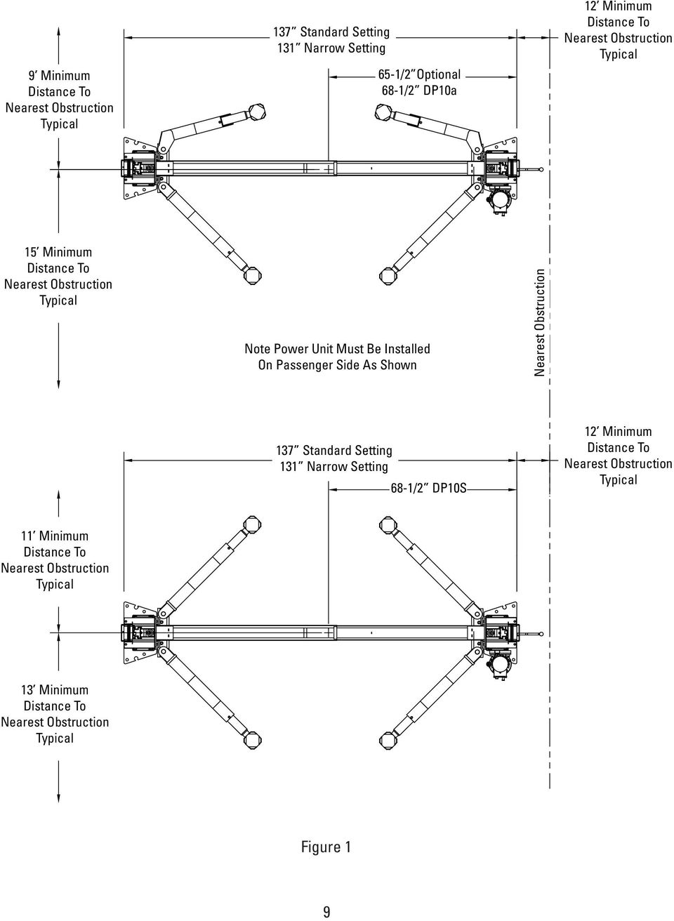 Two Post Lift Installation And Owners Manual Pdf 9000 Lb Eagle Wiring Diagram Passenger Side As Shown Nearest Obstruction 137 Standard Setting 131 Narrow 68 1