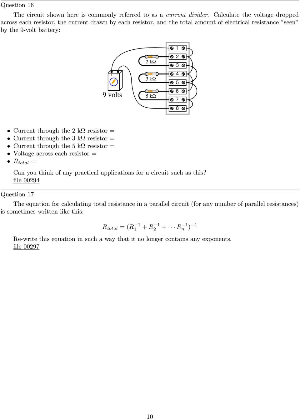 Year 4 Circuit Components Word Mat Science Electricity Ks2 Parallel Dc Circuits Pdf 6 7 8 Current Through The 2 K Resistor 3
