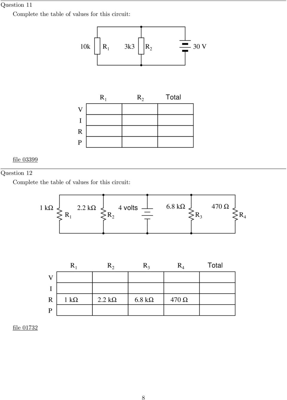 Parallel Dc Circuits Pdf Circuit Diagram Ks2 Table Of Values For This 1 K 22 4 Volts 6