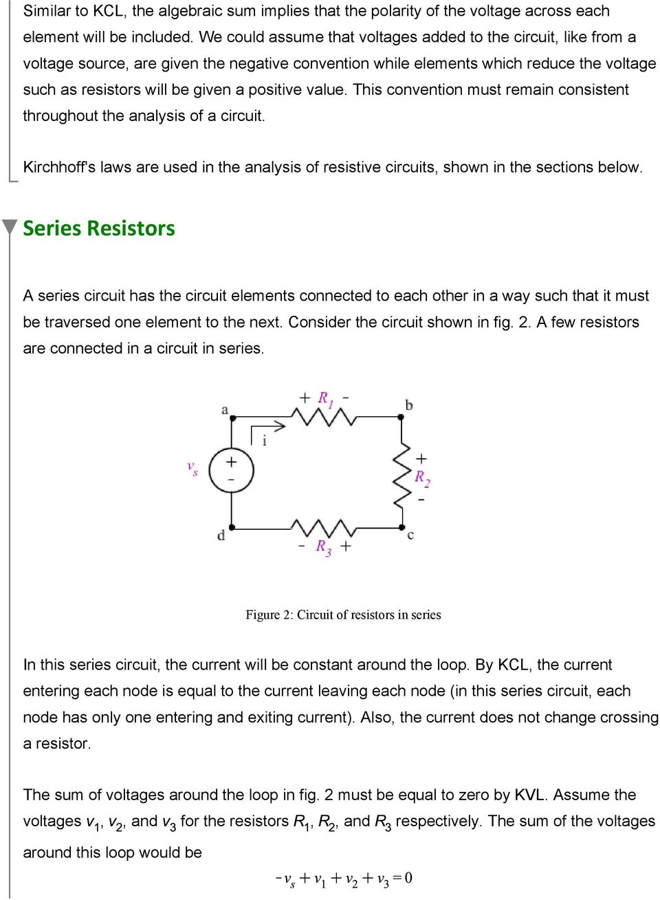 Series And Parallel Resistive Circuits Pdf For In The Text They Show A Circuit That Looks Like This Convention Must Remain Consistent Throughout Analysis Of Kirchhoffs Laws