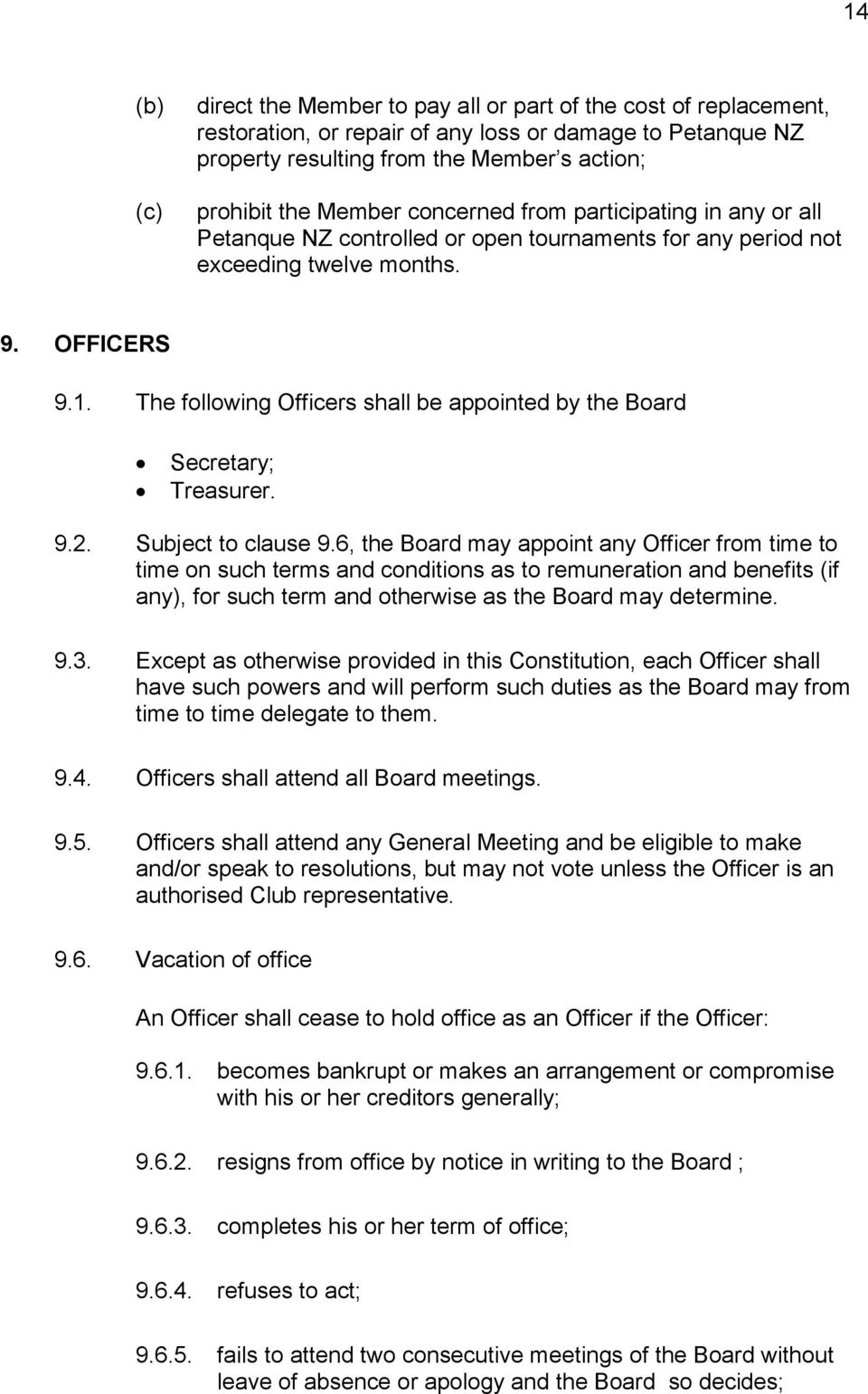 The following Officers shall be appointed by the Board Secretary; Treasurer. 9.2. Subject to clause 9.