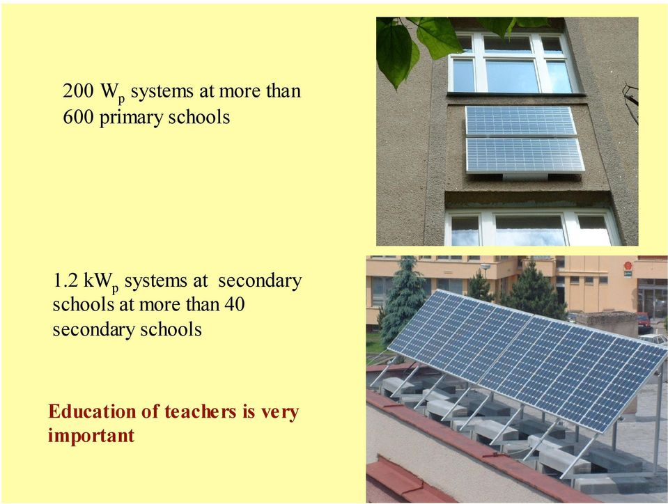 2 kw p systems at secondary schools at