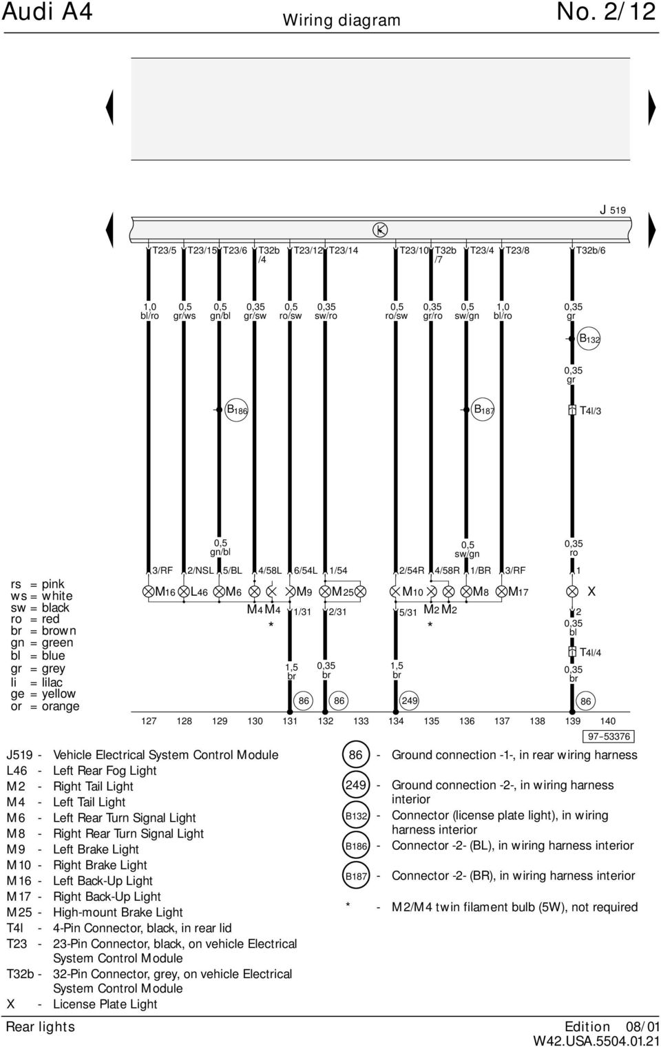 Audi A4 No 2 1 Standard Equipment Wiring Diagram From 2002 M Y 1997 Outback Fog Lamp 54 5 86 Gn 54r 4 58r Br 7