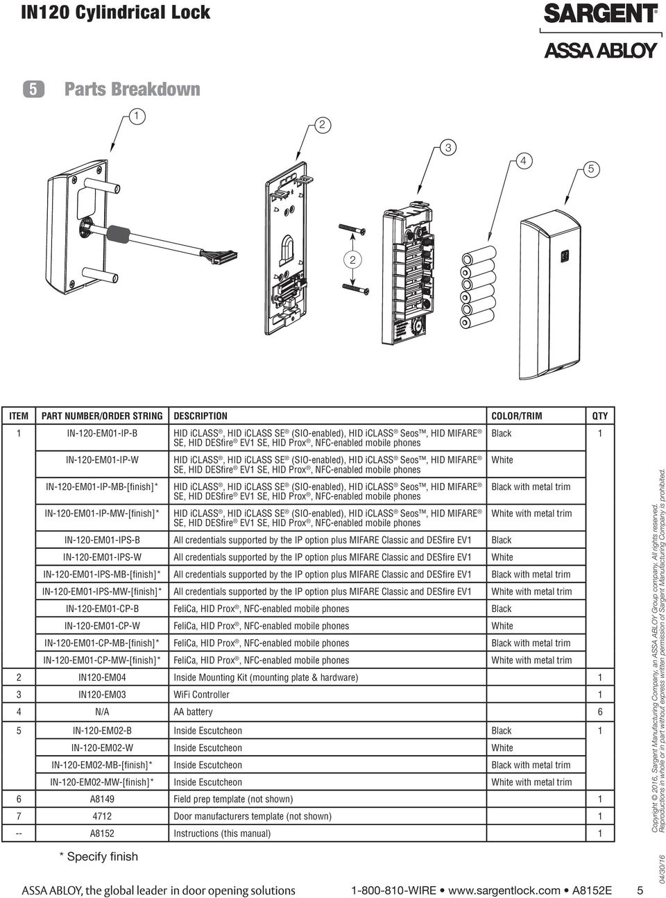 In120 Wifi Cylindrical Lock Installation Instructions A8152e 04 16 Hid Access Wiring Diagram In 120 Em01 Ip Mb Finish Iclass