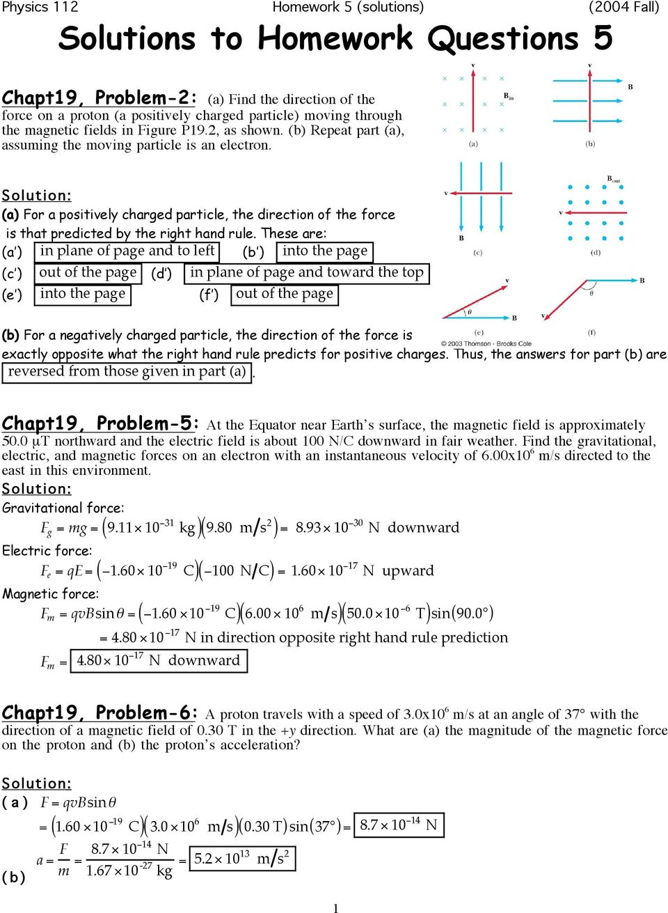 Physics 112 Homework 5 (solutions) (2004 Fall) Solutions to Homework ...