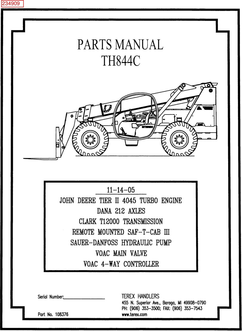 Parts Manual Th844c Terex Handlers 455 N Superior Ave Baraga Mi Ignition Switch Wiring Diagram Transcription