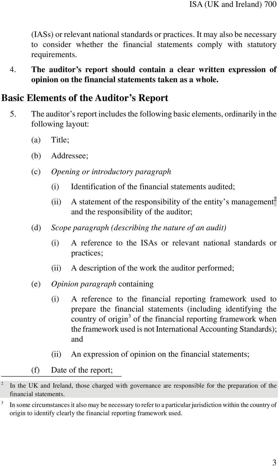 The auditor s report includes the following basic elements, ordinarily in the following layout: (a) (b) (c) (d) (e) (f) Title; Addressee; Opening or introductory paragraph (i) Identification of the