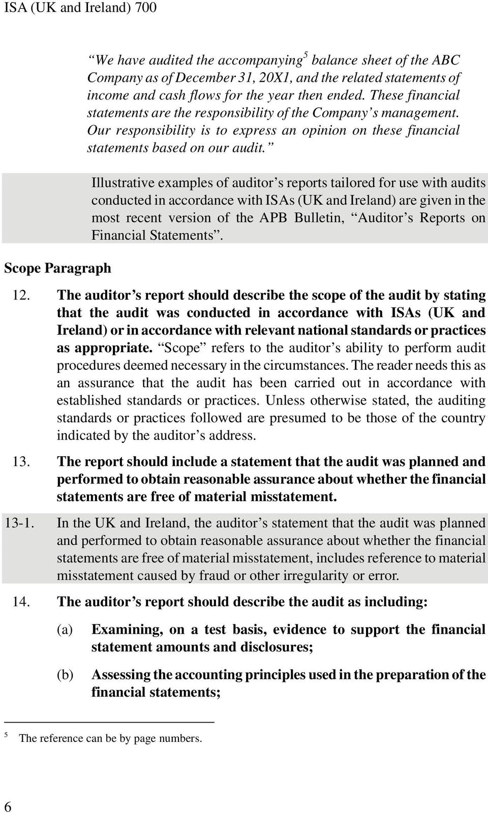 Illustrative examples of auditor s reports tailored for use with audits conducted in accordance with ISAs (UK and Ireland) are given in the most recent version of the APB Bulletin, Auditor s Reports