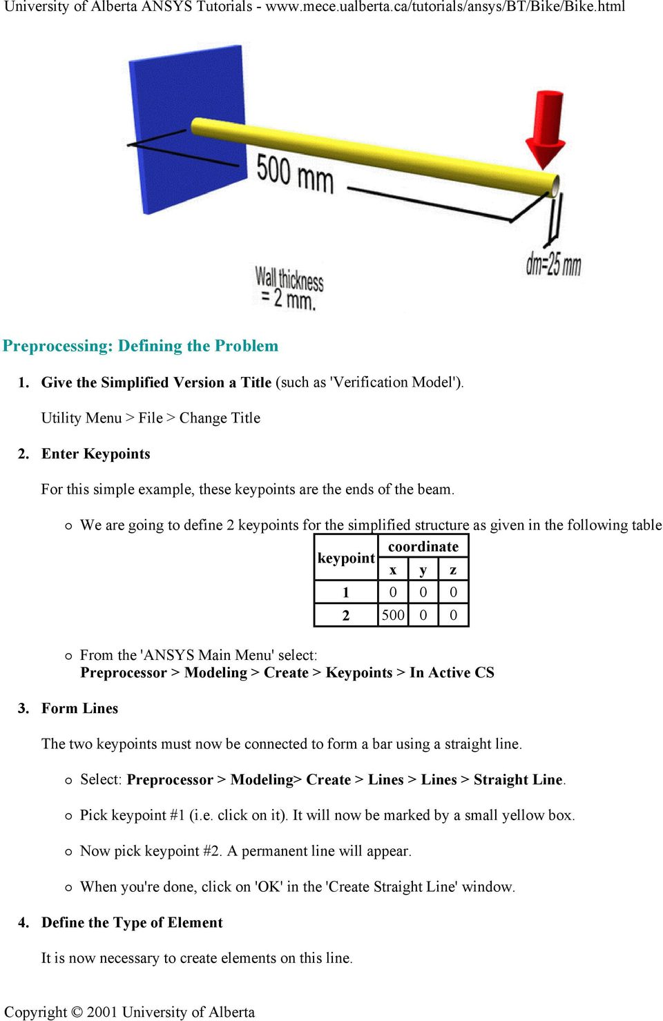 University of Alberta ANSYS Tutorials - Space Frame Example