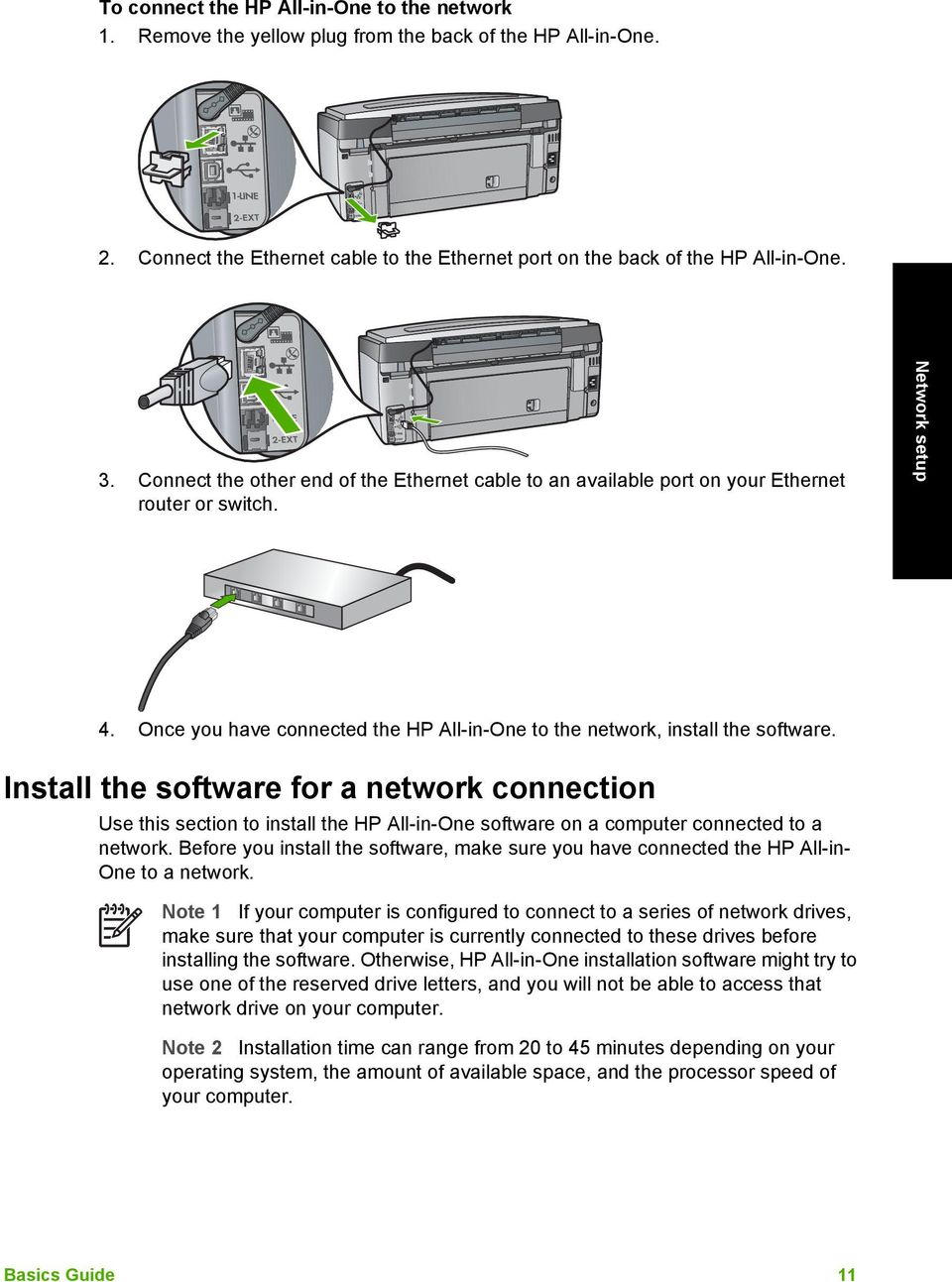 Install the software for a network connection Use this section to install  the HP All-