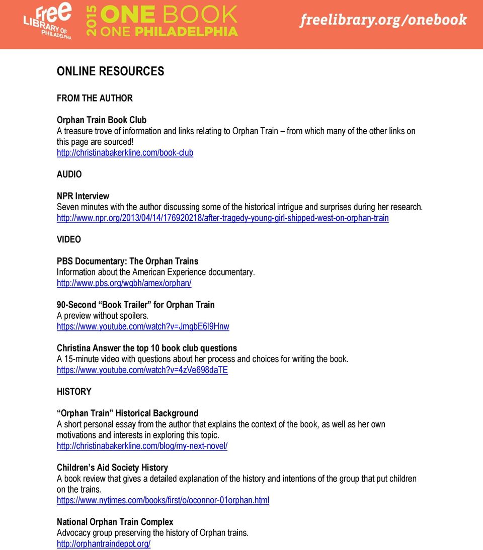 Lesson Plans and Resources for Orphan Train - PDF
