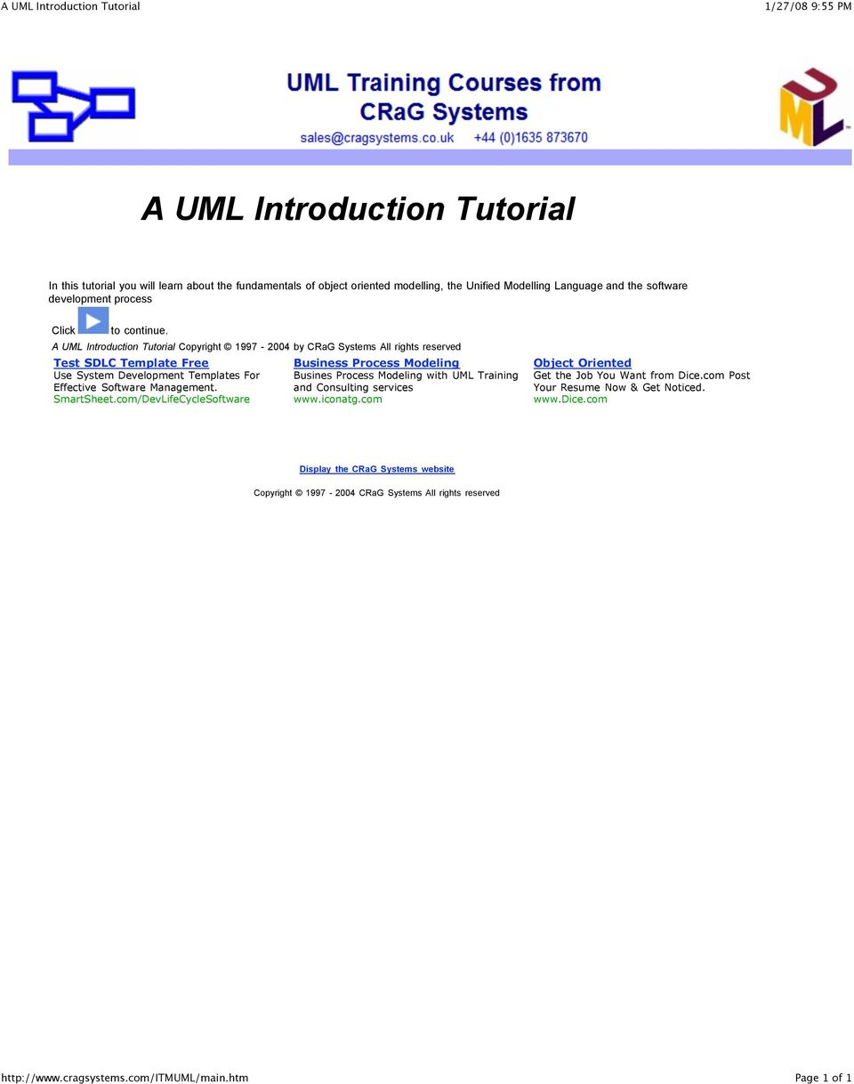 A UML Introduction Tutorial Copyright 1997-2004 by CRaG Systems All rights reserved Test SDLC Template Free Use System Development Templates For Effective Software Management.