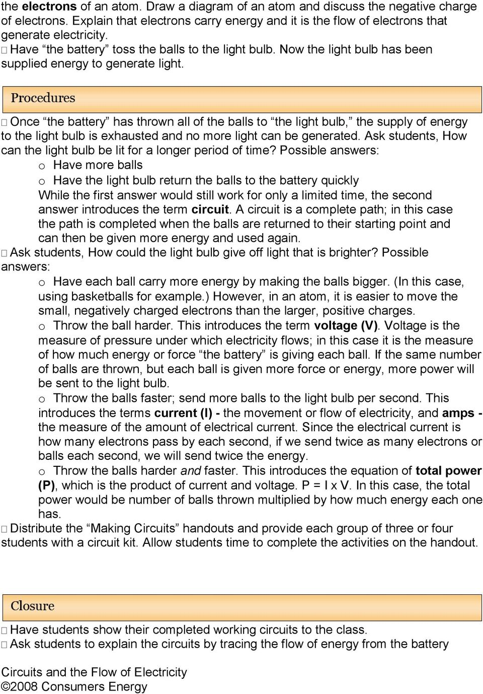 Circuits and the Flow of Electricity - PDF