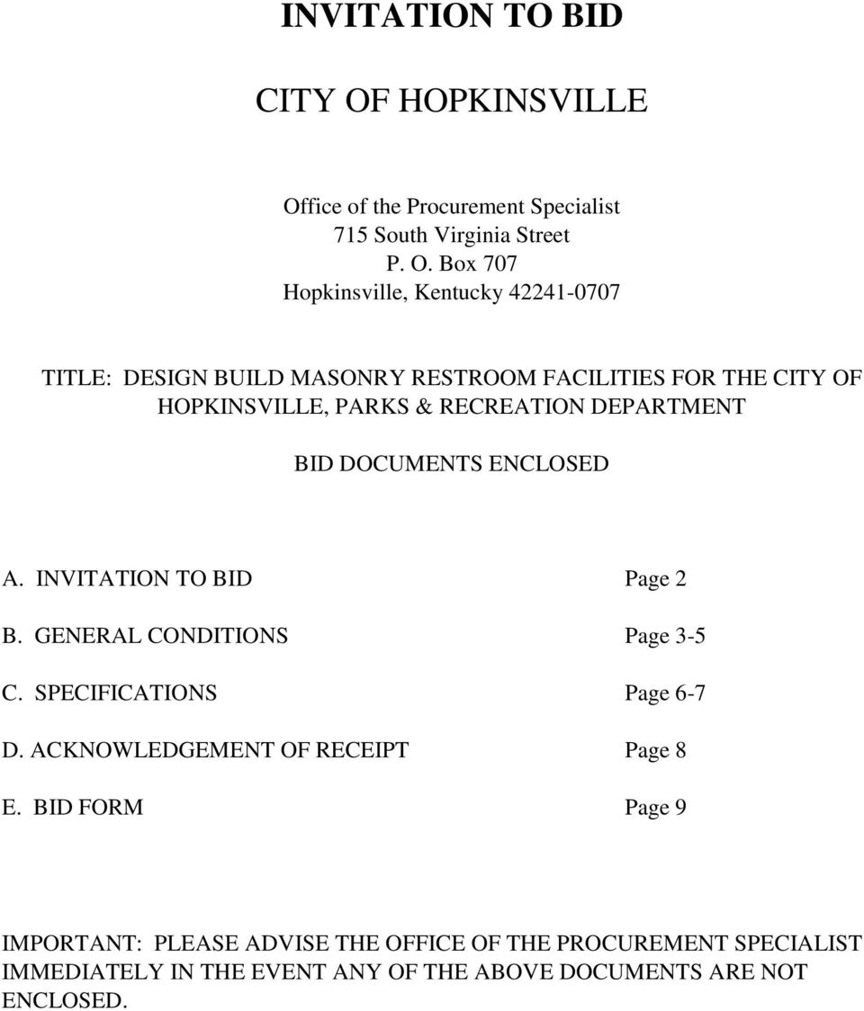 invitation to bid city of hopkinsville pdf