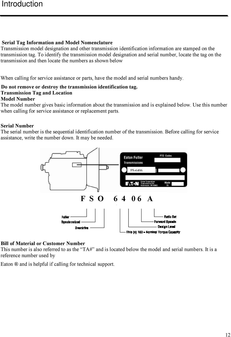 6-Speed Synchromesh Transmission Service Manual  (FS-6406 Series) - PDF