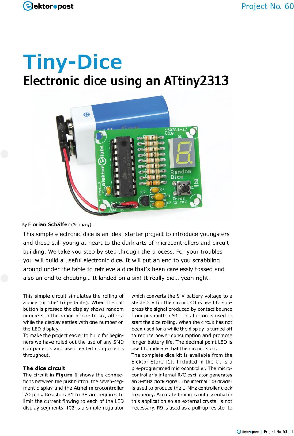 Tiny Dice Electronic Using An Attiny Pdf Simple Solar Circuits Evil Mad Scientist Laboratories It Will Put End To You Scrabbling Around Under The Table Retrieve A