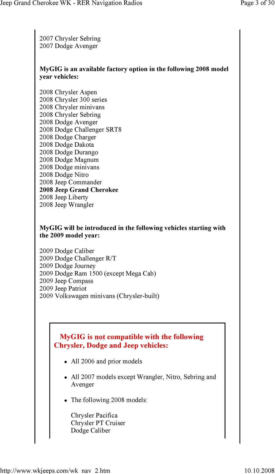 MyGIG radios (models RER, REN and REU) - PDF